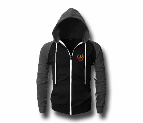 Men's Black and Heather Grey Heru (Flex Logo) Slim Fit Lightweight Hoodie (Long Sleeve,Full Zipper)