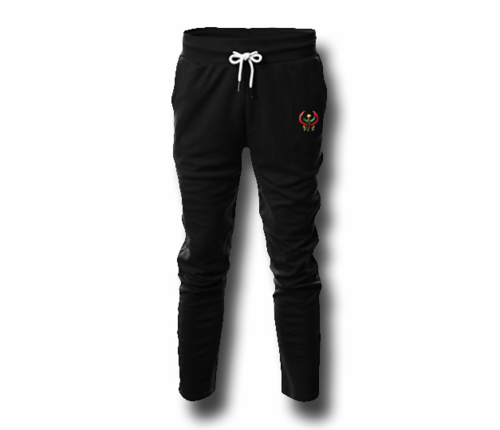 Men's Black Heru (Flex Logo) Slim Fit Lightweight Sweatpant (with Draw String)