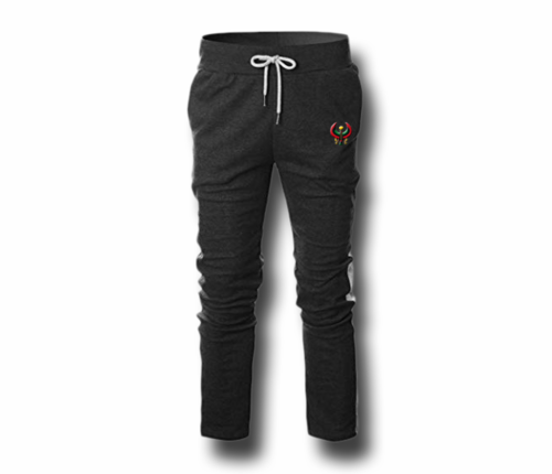 Men's Charcoal Grey and White Heru (Flex Logo) Slim Fit Lightweight Sweatpant (Draw String)