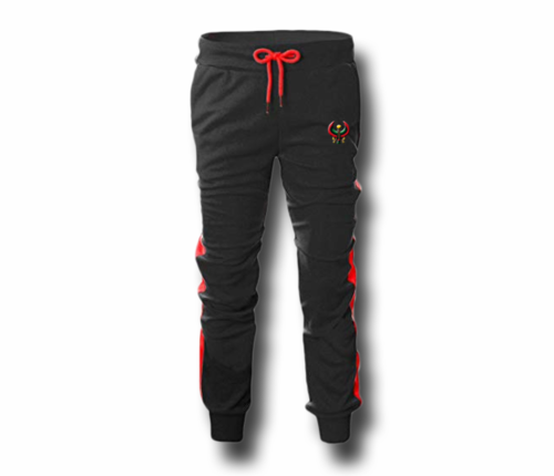 Men's Black and Red Heru (Flex Logo) Slim Fit Lightweight Sweatpant (Tapper Bottom)