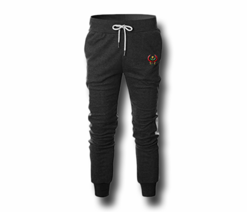 Men's Charcoal Grey and White Heru (Flex Logo) Slim Fit Lightweight Sweatpant (Tapper Bottom)