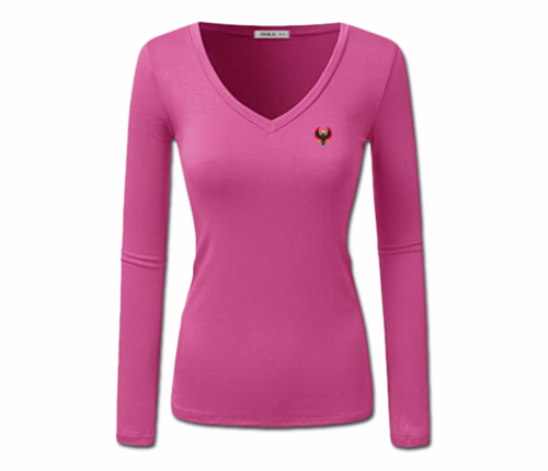 Women's Fuchsia Heru Long Sleeve V-Neck T-Shirt
