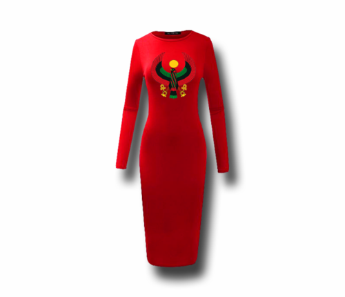 Women's Red Heru Long Sleeve (Bodycon) T-Shirt Dress