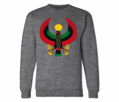 Women's Dark Heather Grey Heru Crewneck Sweatshirt.