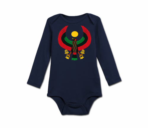 Infant Navy Blue Heru Long Sleeve Onesie