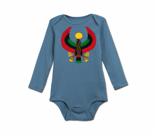 Infant Slate Blue Heru Long Sleeve Onesie