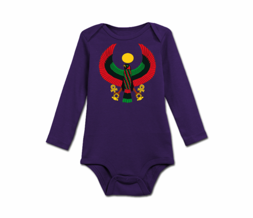 Infant Purple Heru Long Sleeve Onesie