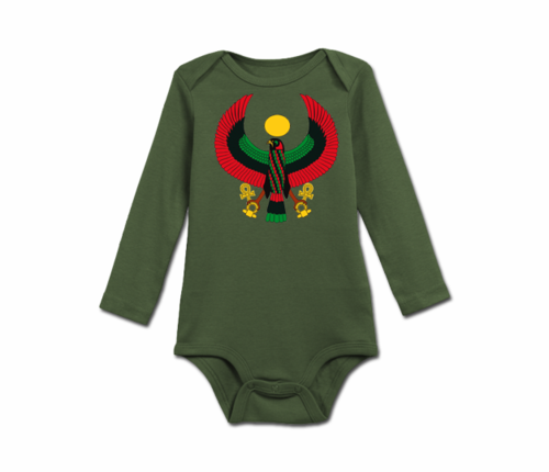 Infant Olive Green Heru Long Sleeve Onesie