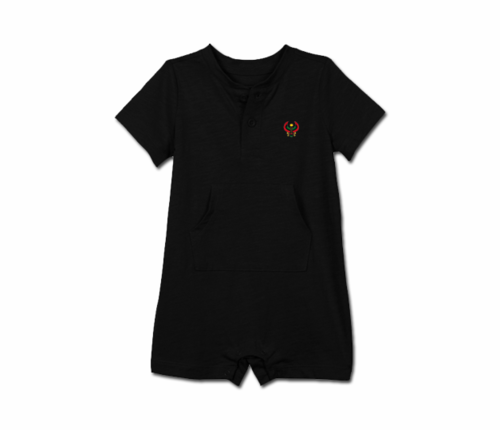 Toddler Black Heru Short Sleeve Romper