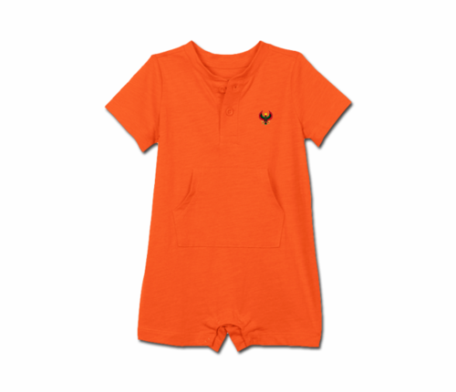 Toddler Tangerine Orange Heru Short Sleeve Romper