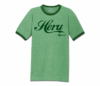 Men's Heather Green and Green Heru Apparel Ringer T-Shirt (Text)