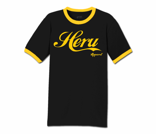 Men's Black and Gold Heru Apparel Ringer T-Shirt (Text)