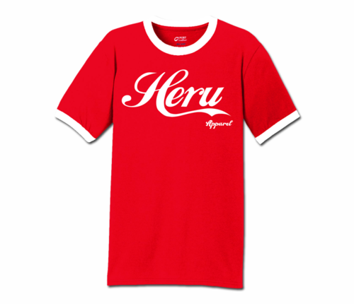 Men's Red and White Heru Apparel Ringer T-Shirt (Text)