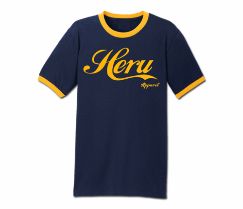 Men's Navy Blue and Gold Heru Apparel Ringer T-Shirt (Text)