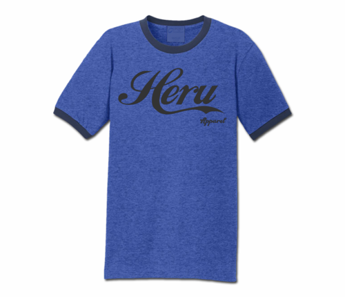 Men's Heather Blue and Navy Blue Heru Apparel Ringer T-Shirt (Text)