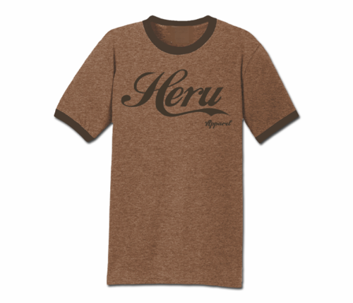 Men's Heather Brown and Brown Heru Apparel Ringer T-Shirt (Text)