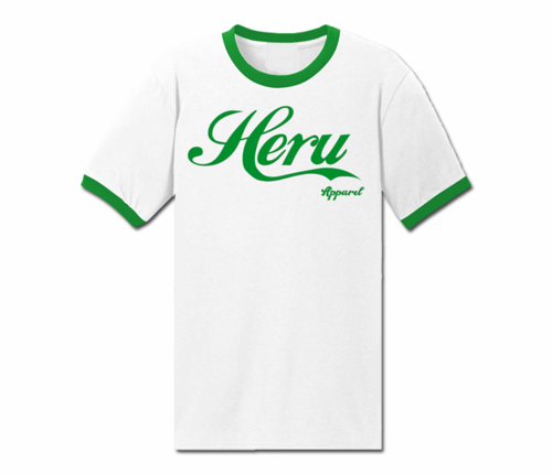 Men's White and Kelly Green Heru Apparel Ringer T-Shirt (Text)