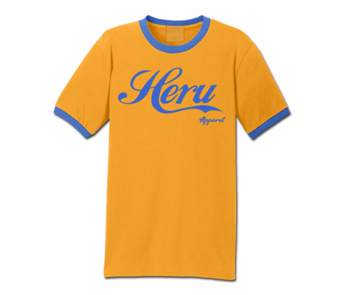 Men's Gold and Carolina Blue Heru Apparel Ringer T-Shirt (Text)