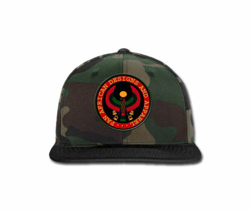 Men Camouflage and Black Heru Snap Back (with circular seal design)