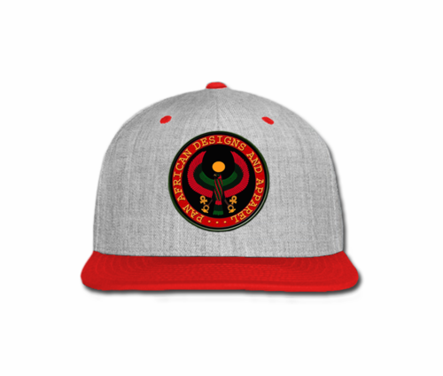 Men Heather Grey and Red Heru Snap Back (with circular seal design)