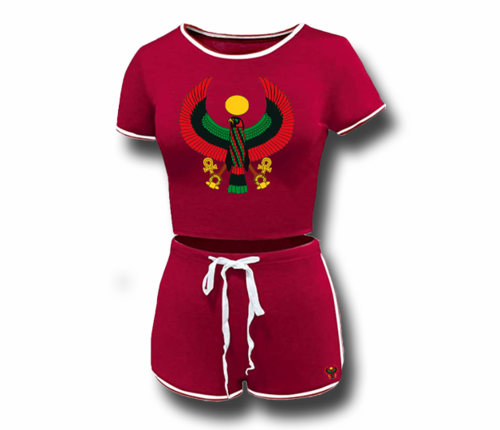 Women's Red Heru Summer Short Set (Bodycon)