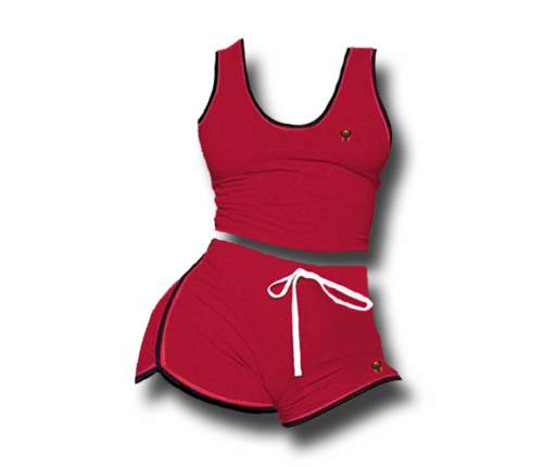 Women's Red Heru Summer Tank Top & Short Set (Bodycon)