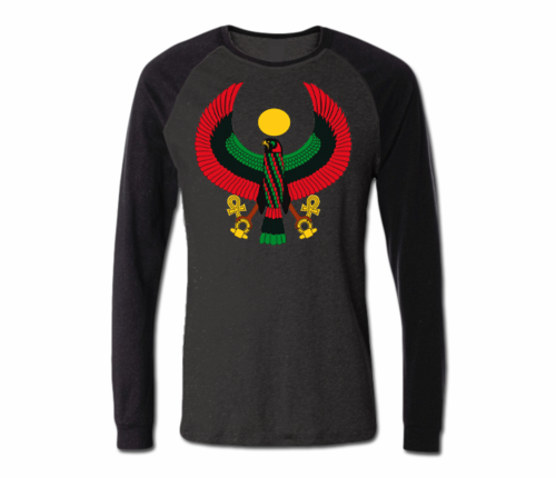 Men's Dark Heather Grey with Black Heru Baseball T-Shirt